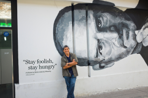Guy in Front of Steve Jobs Art